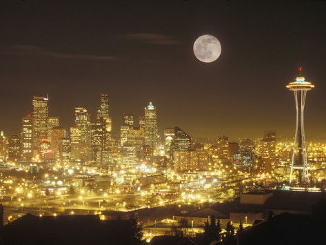 Moonrise Over Nighttime Seattle Washington Usa Photographic