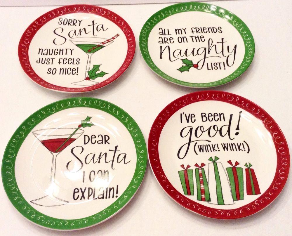 Christmas Dessert Plates Set of 4 Dear Santa Dishes With Box  sc 1 st  Pinterest & Christmas Dessert Plates Set of 4 Dear Santa Dishes With Box   Great ...