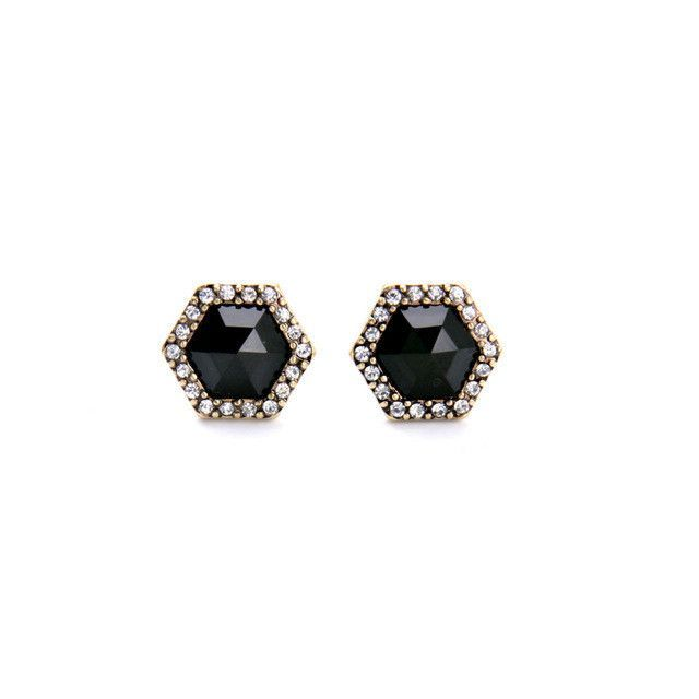 American Pop Concise Style Geometric Black Gems Female Stud Earrings
