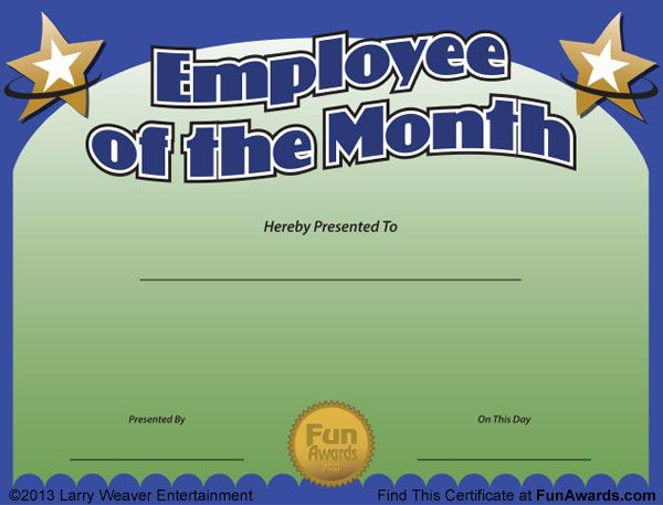 find these employee the month awards funny certificate sample - employee of the month certificate template free