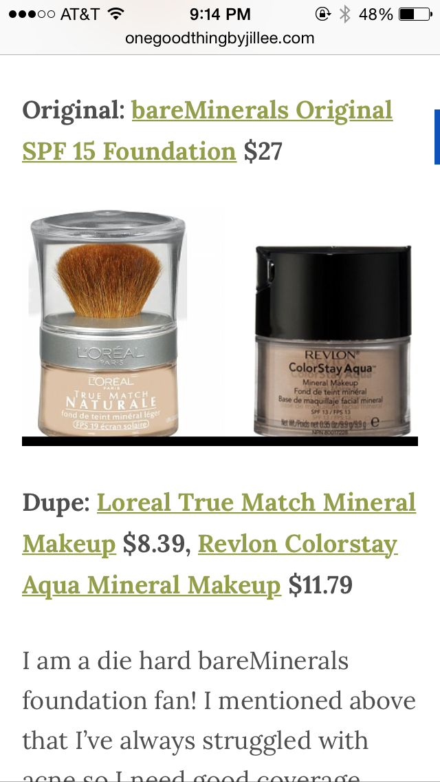 Dupes For Bare Minerals Original Spf 15 Foundation Revlon Gives Better Coverage Mineral Makeup Foundation Bare Minerals Makeup Makeup Dupes Foundation
