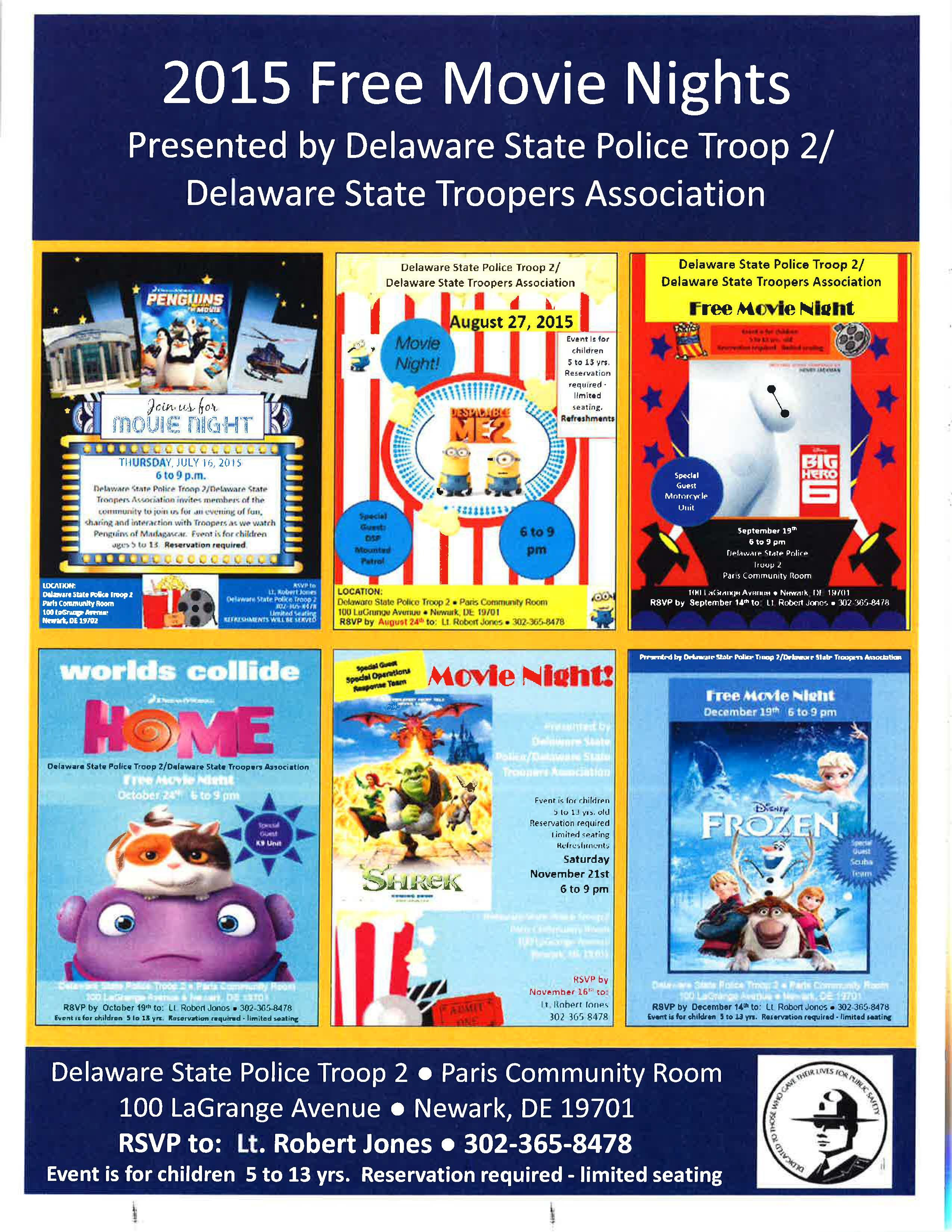 Delaware State Police Troop 2 will host three more free