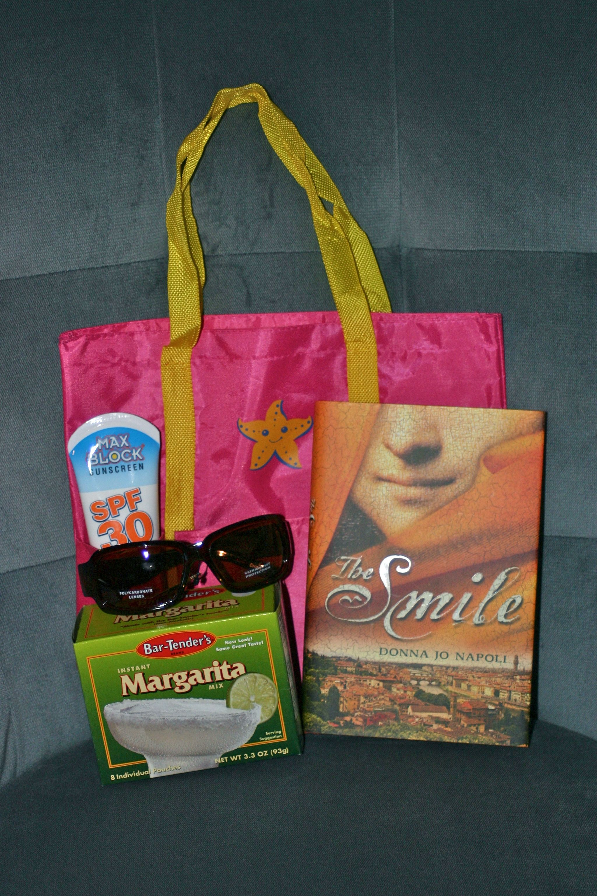 End of year Teacher gift: bag, book, lotion,