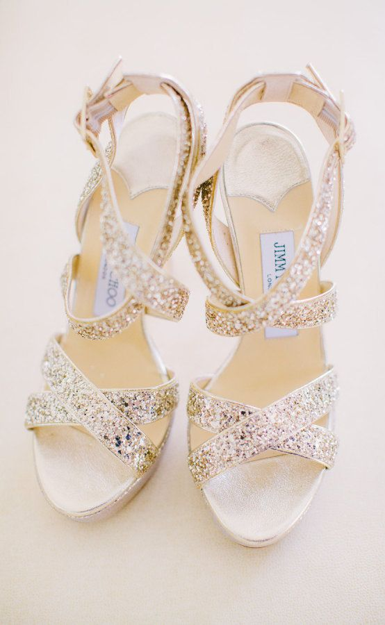 Jimmy Choo Gold Sequin Bridal Shoes