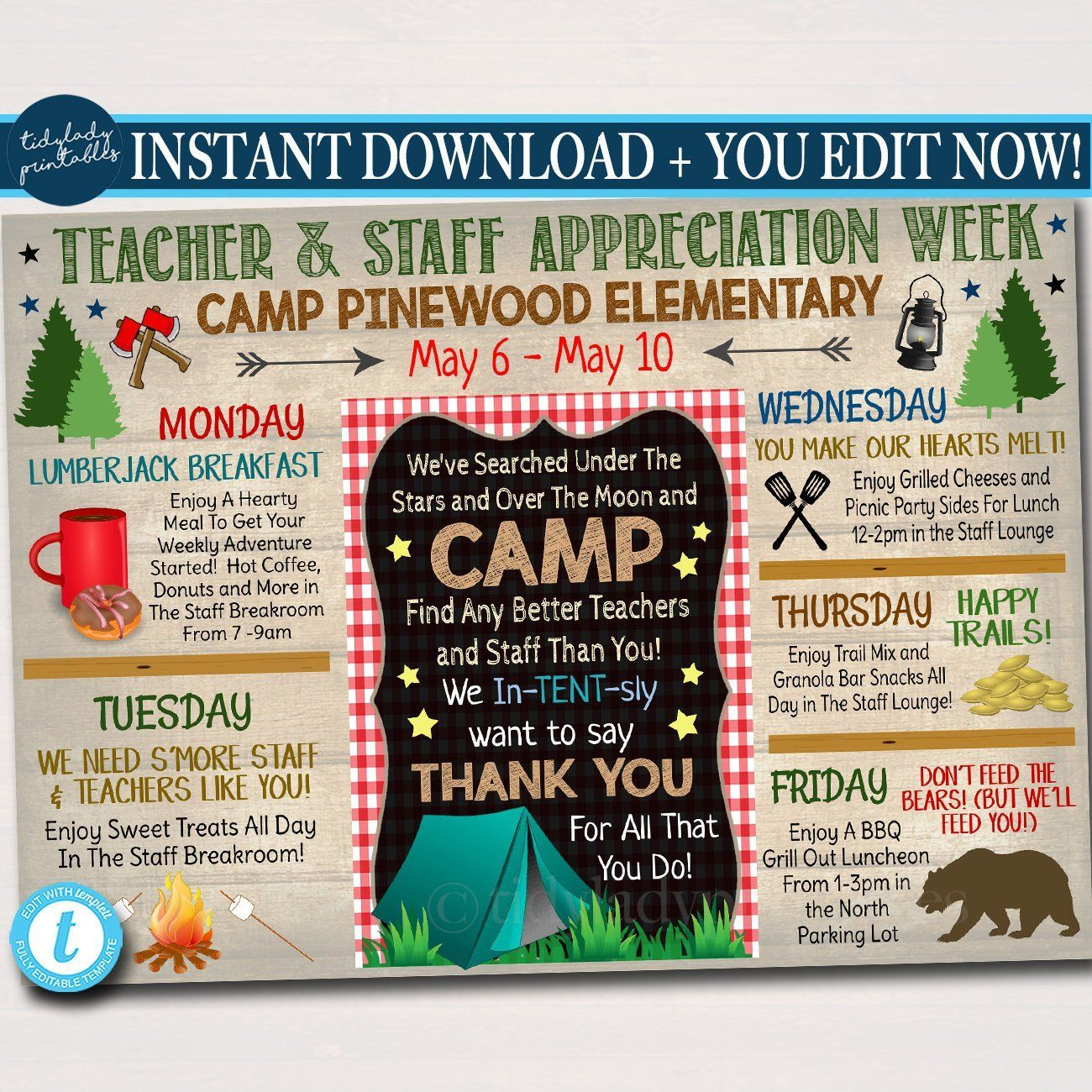 Camp Themed Teacher Appreciation Week Itinerary Poster, Outdoor Wilderness Appreciation Schedule Events,  Printable,  #appreciation #camp #events #homeschoolingideasprintables #Itinerary #outdoor #poster #Printable #schedule #Teacher #themed #Week #Wilderness