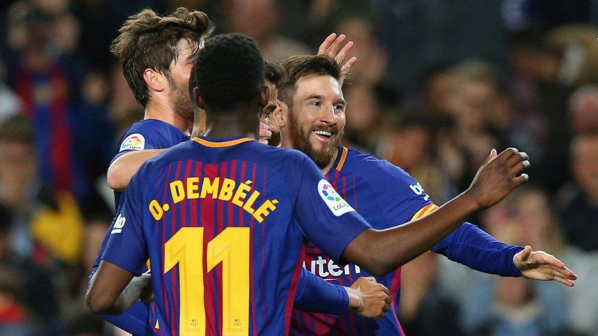Liga Española Barcelona ganó con un triplete de Messi y