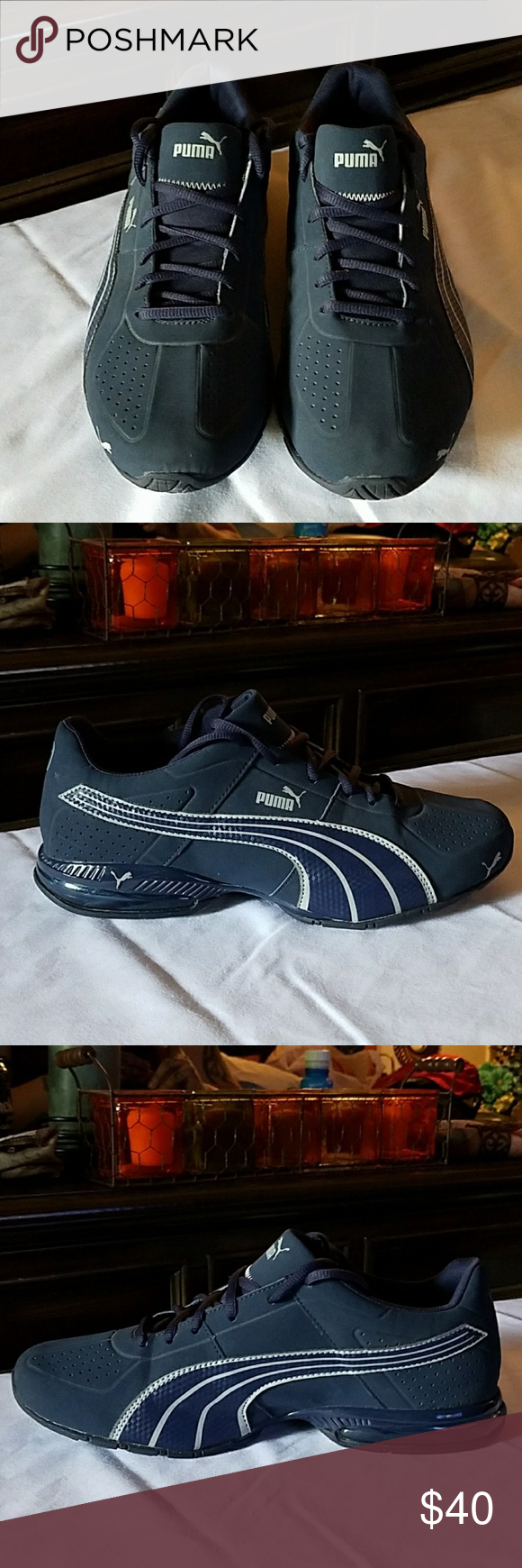 d88b72ab3f7906 Men s Puma Eco OrthoLite Running Shoes Men s navy blue and gray detailed running  shoes. Beautiful