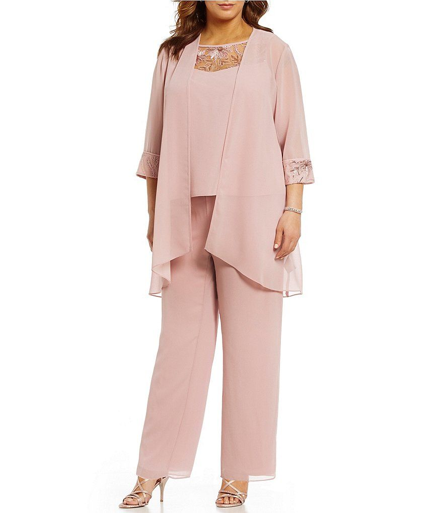 837c09c9bce Le Bos Plus Chiffon Embroidered 3-Piece Pant Set in 2019