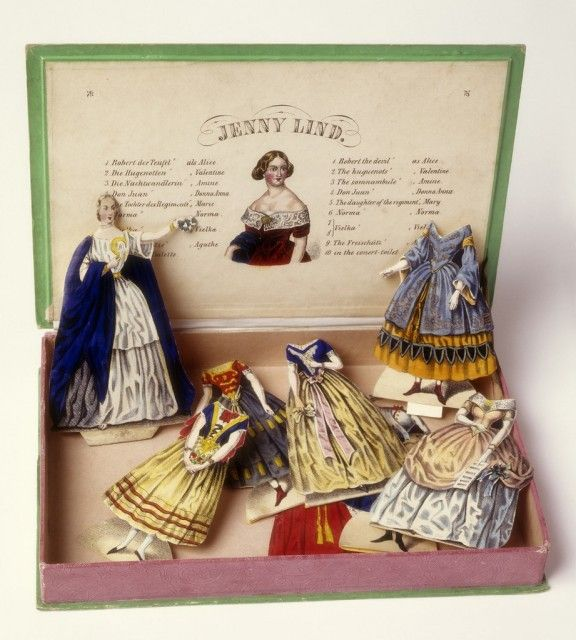 "Paper Doll, ""Jenny Lind Paper Doll, and Ten Costumes Designed for Her Operatic Roles,"" ca. 1850. Smithsonian Cooper-Hewitt, National Design Museum"