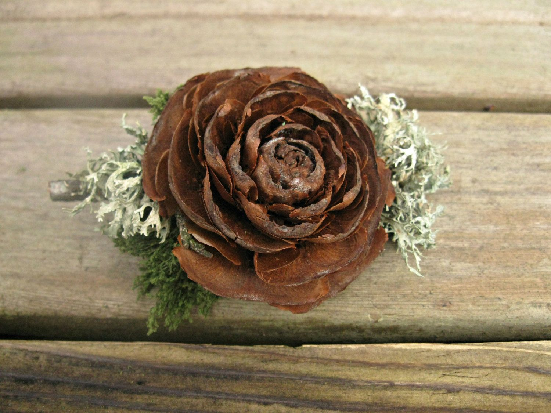 Woodland Boutonniere, Woodland Brooch -Cedar Rose, Lichen ...
