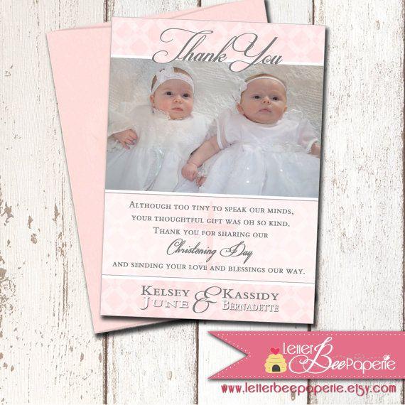 Custom Baptism   Christening Photo Thank You Card - Twins   Boy - invitation for baptism girl