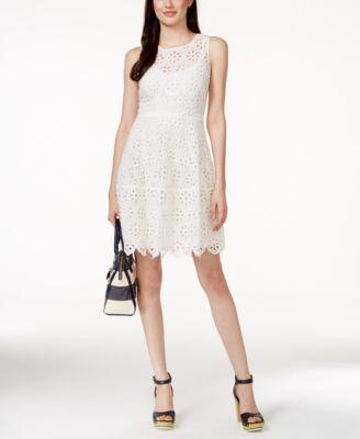 1c3239bde4067 Tommy Hilfiger Sleeveless Eyelet Lace Dress | macys.com | Wedding ...