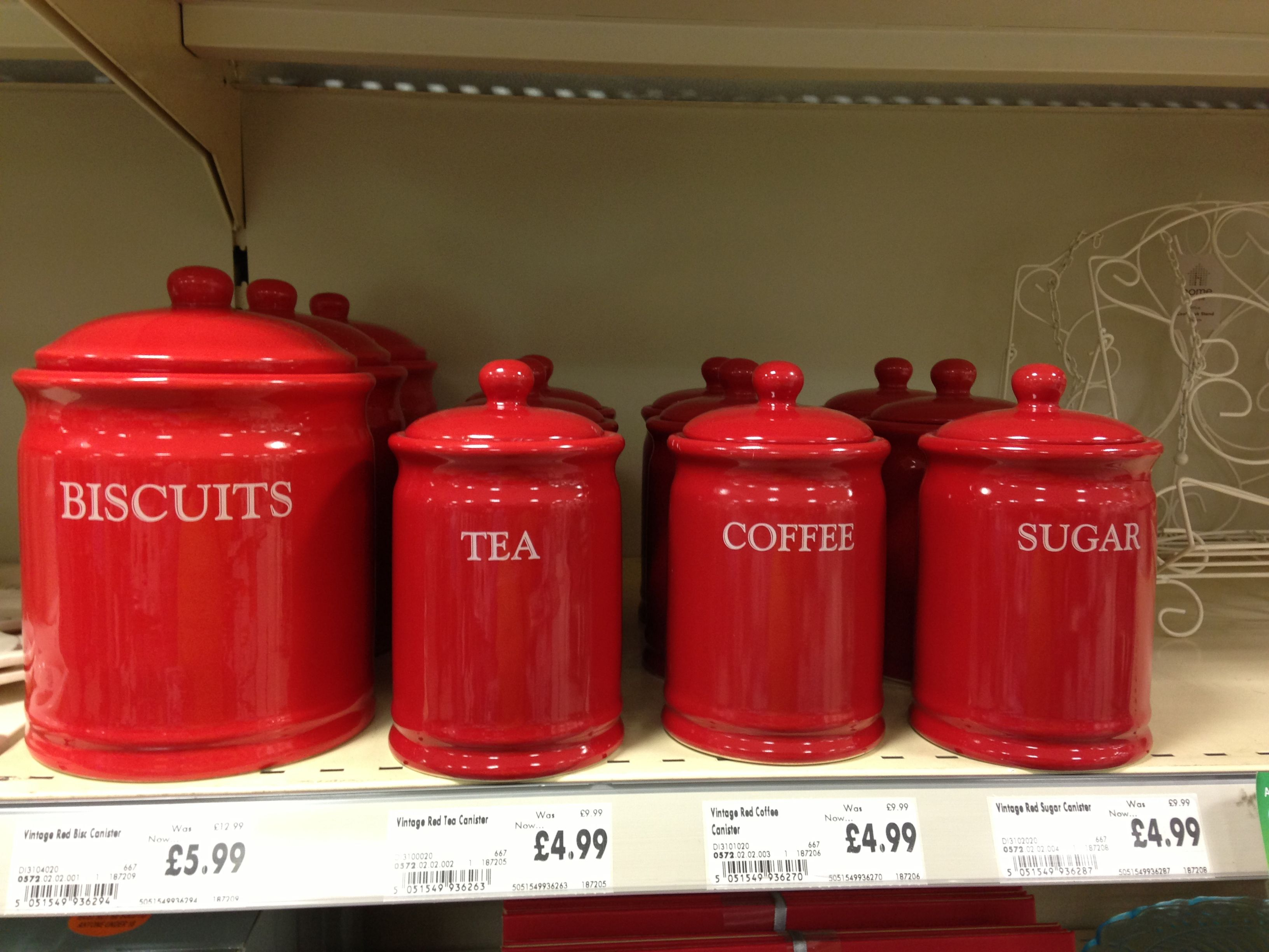 red storage canisters kitchen homebase dishes pinterest