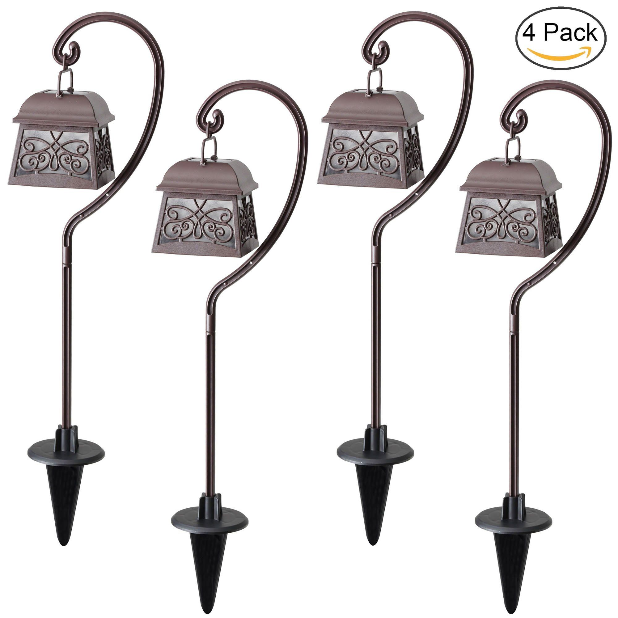 Maggift 22 Inch Hanging Solar Lights Multipurpose Shepherd Hook ...
