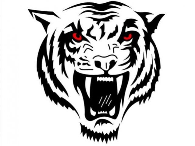Black And White Roaring Tiger S Head With Red Eyes Tattoo Tattoo Pm Tribal Tiger Tattoo Tiger Head Tattoo Tribal Tiger