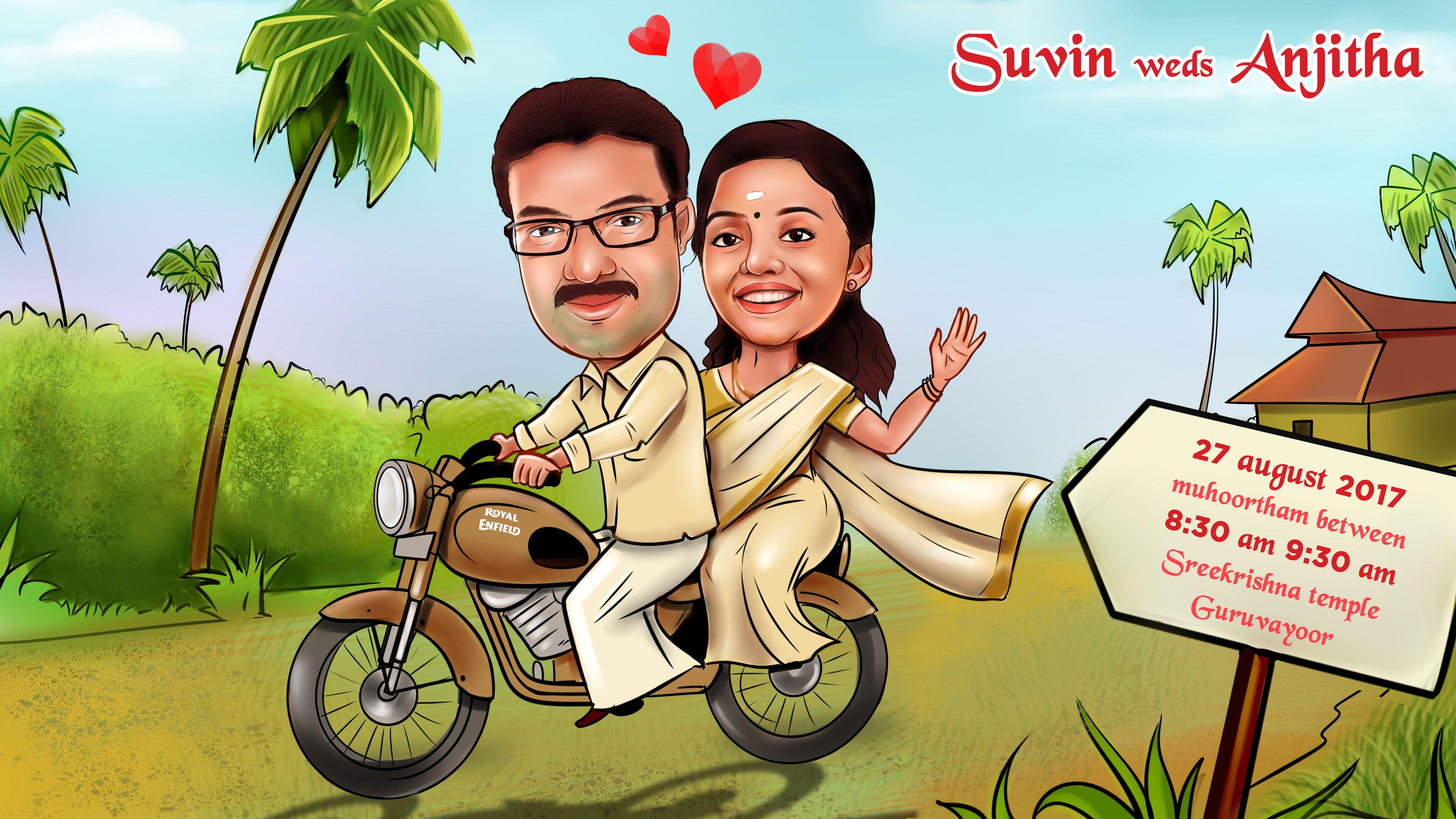 Custom Wedding Caricatures /for invitation/save the date
