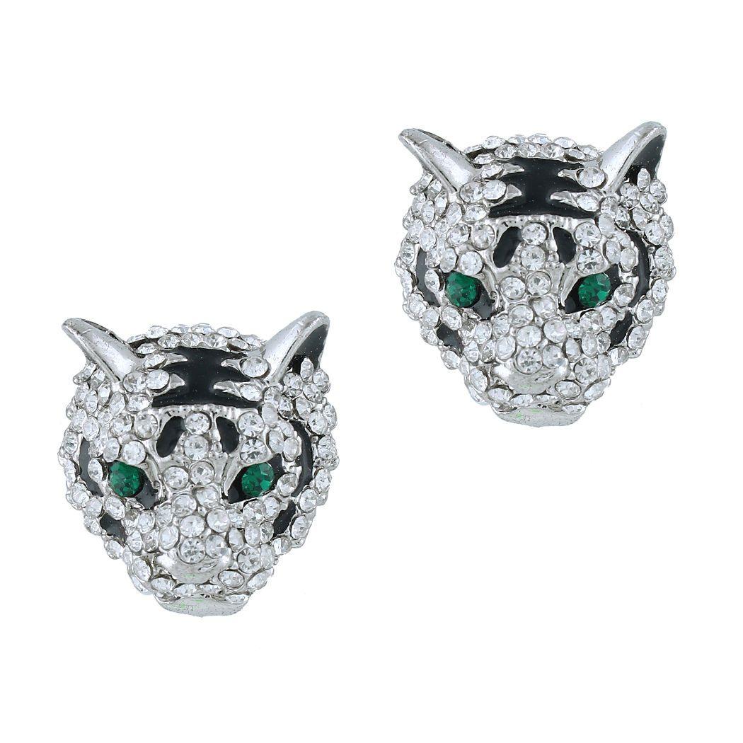 Stunning Tiger Head Necklace Earring Set Rhinestone Crystal Clear Animal | eBay