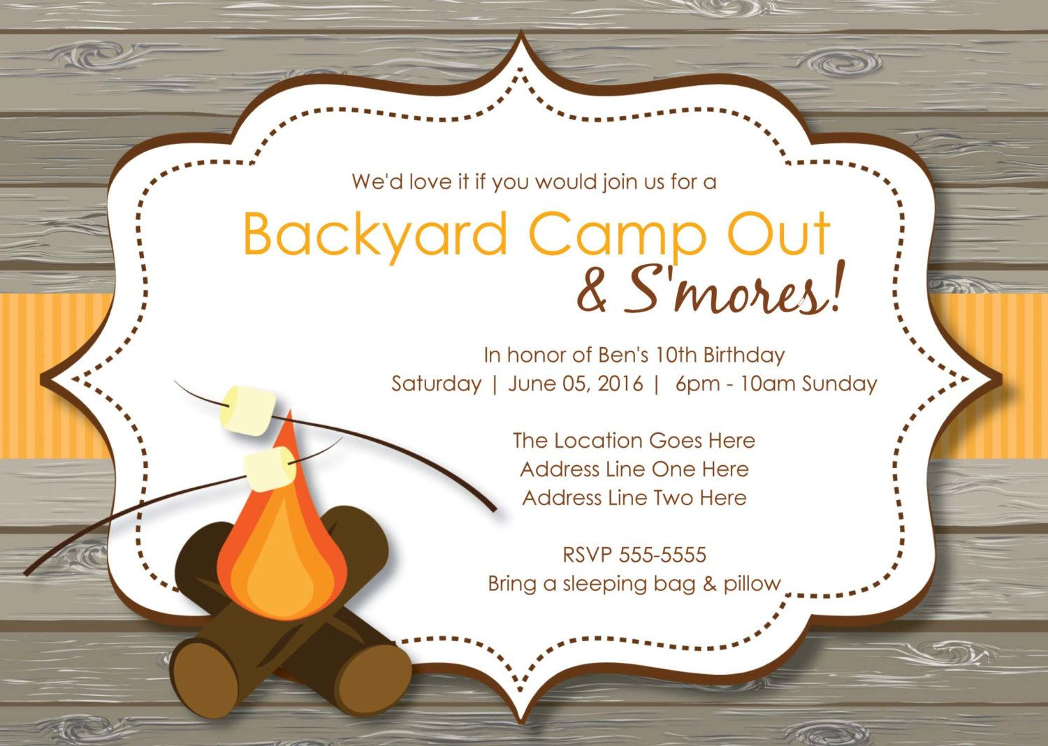 Rustic S\'mores Camp Out Invitations | Bonfire Invitation, Camping ...