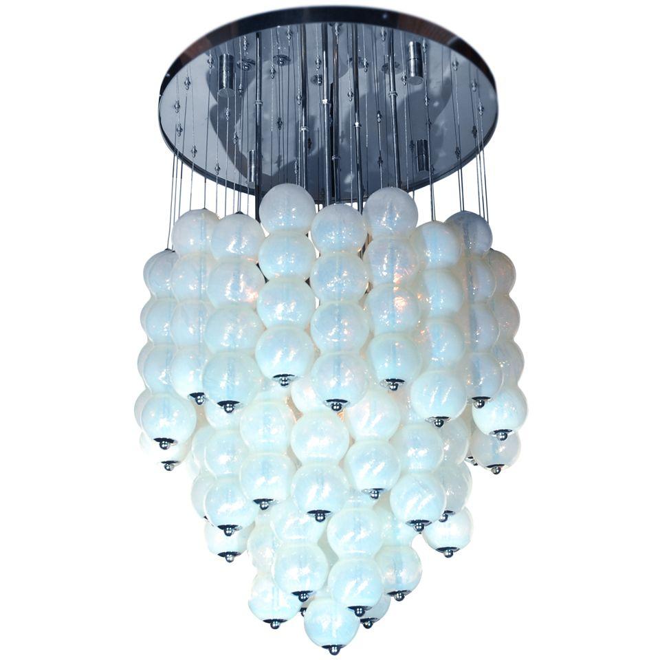 Mazzega opaline glass bubble chandelier
