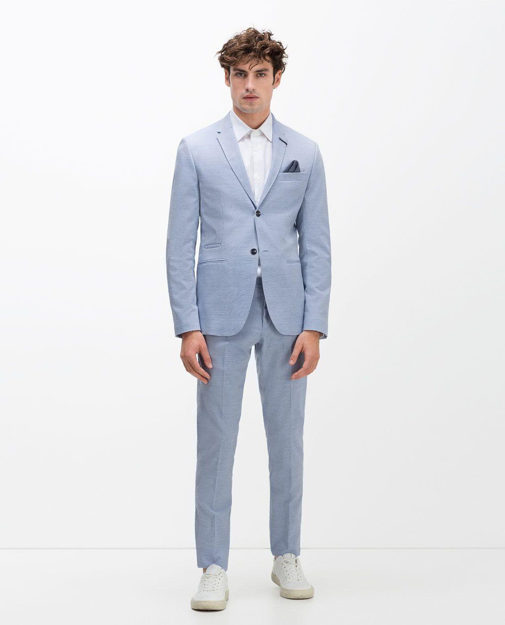 Image 1 Of Light Blue Ceramic Wool Suit From Zara