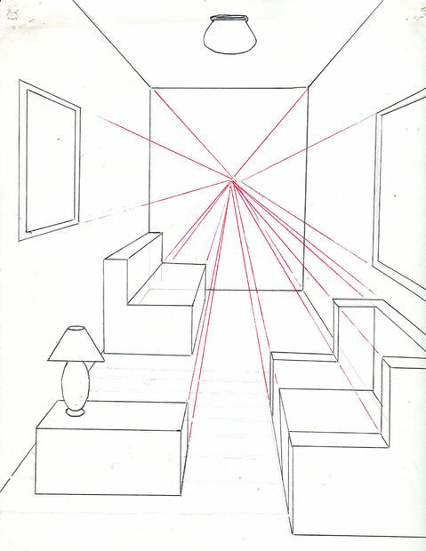 Quarto em perspectiva com um ponto de fuga perspectiva for 3d zimmergestaltung