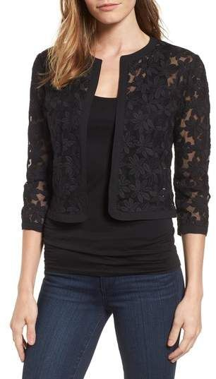 Anne Klein Floral Embroidered Mesh Cardigan | Blouse designs