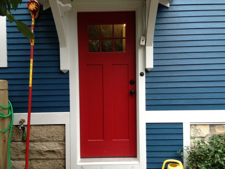 Blue house white trim and red door in elmhurst opal - Front door colors for blue house ...