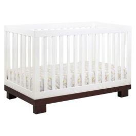 Babyletto Modo 3-in-1 Convertible Crib with Toddler Rail - White/Espresso