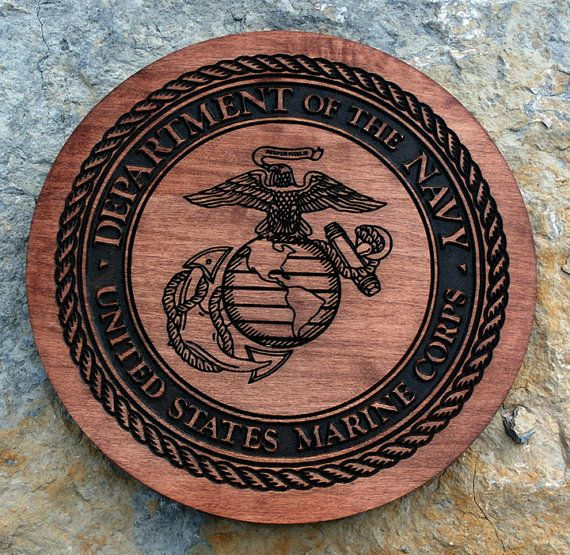 Inch two tone carved marine corps service seal on