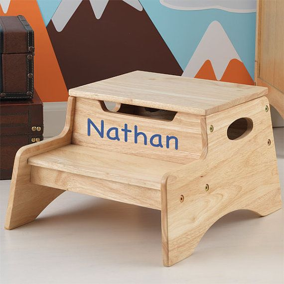 Surprising Personalized Step N Store Step Stool Natural First Birthday Ibusinesslaw Wood Chair Design Ideas Ibusinesslaworg