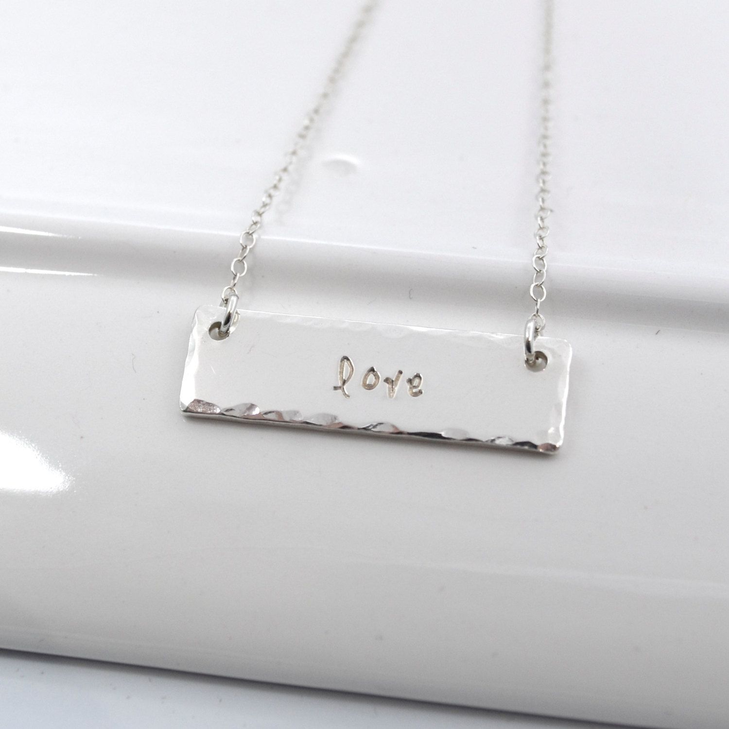 Hand Stamped Bar One Word Necklace in Sterling Silver by DesignMeJewelry on Etsy