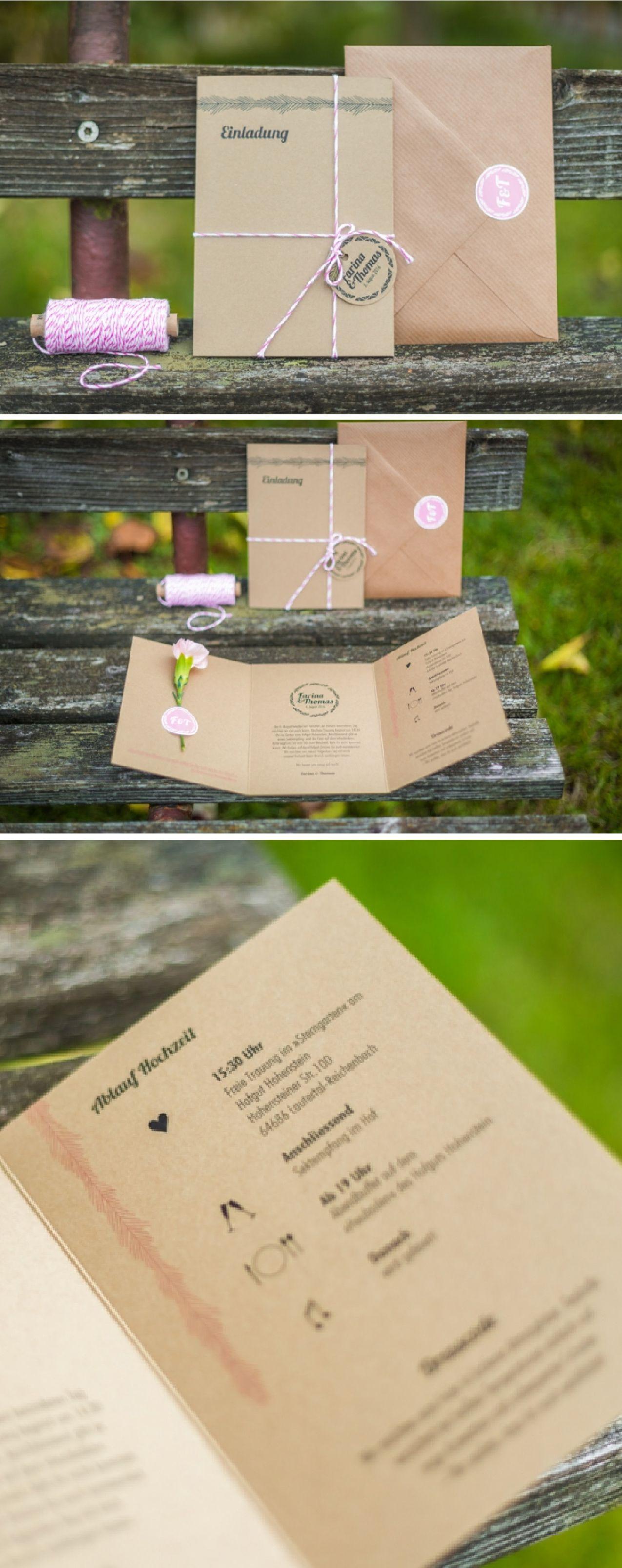 Hochzeitseinladung Der Kollektion »Scheunenhochzeit« Aus Kraftpapier Mit  Übersicht Vom Ablauf Der Hochzeit.