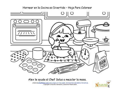 Hornear con los Niños - Página para Colorear Para los Niños