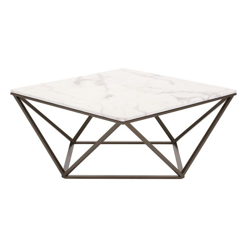 Zuo Tintern Faux Marble Top Coffee Table In Stone And