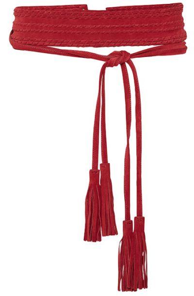 ceinture large en daim rouge tressé à pompons à frange, Maje ... 2d56073de2e
