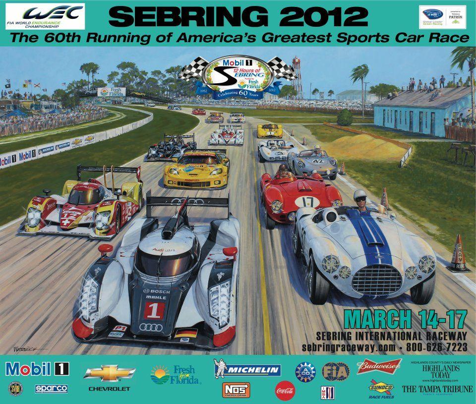 2012 Twelve Hours of Sebring Poster Sebring raceway