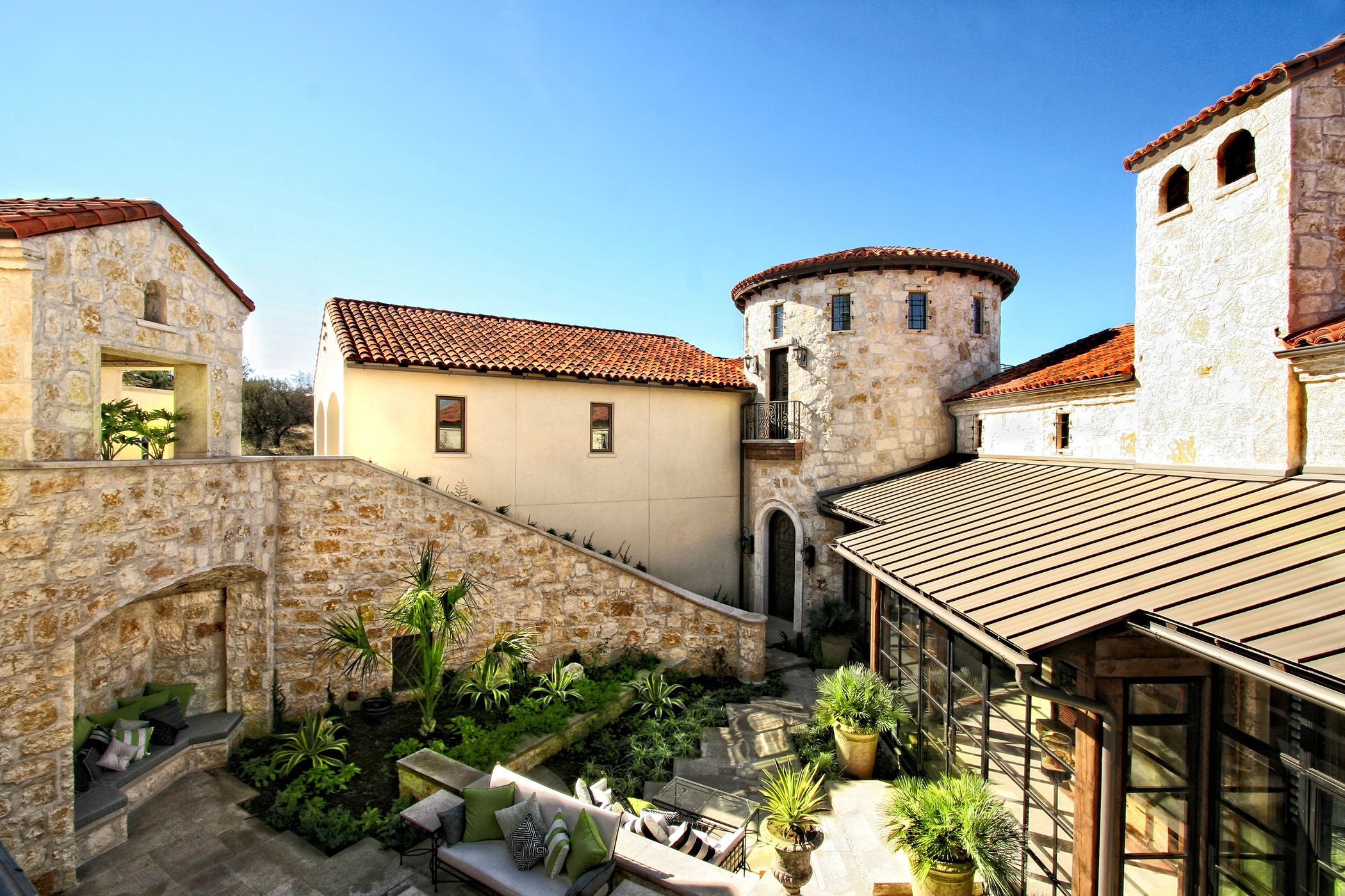 Horseshoe bay spanish style lake house courtyard by for Spanish style homes for sale near me