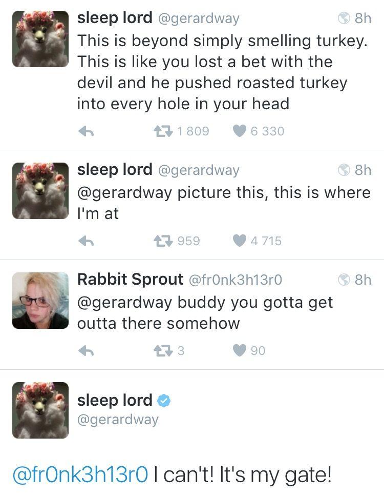 Someone save him- Gerard Way Twitter