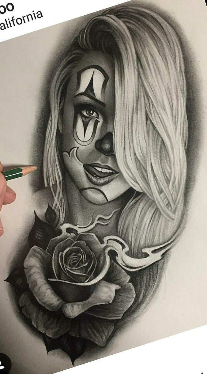 Makaivio gama desenhos tesu tattoo artist drawings for Chicano clown girl tattoos