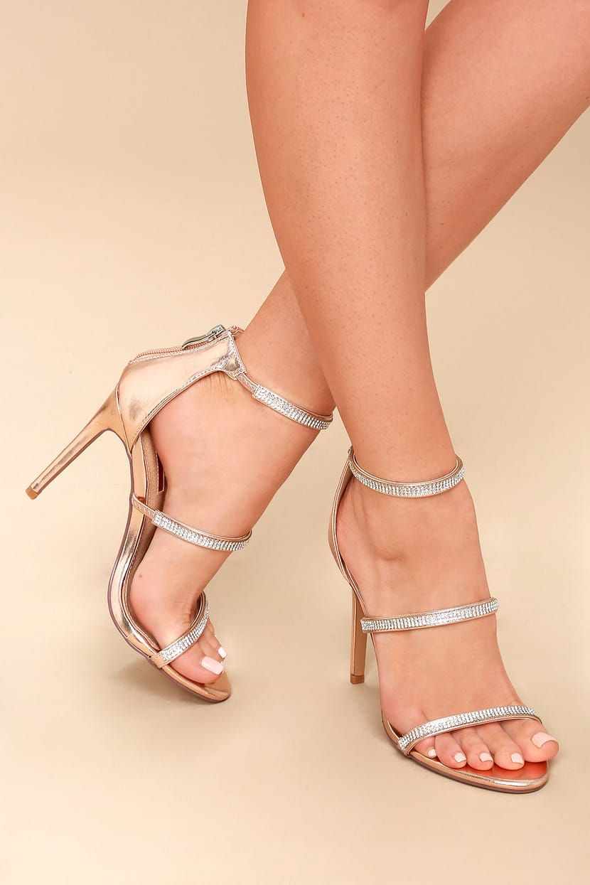 c62895e196 Aerin Rose Gold Rhinestone Ankle Strap Heels in 2019 | prom shoes ...