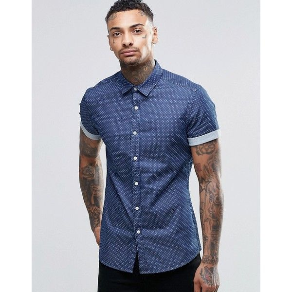 ASOS Skinny Denim Shirt With Polka Dot In Rinse Wash And Short Sleeves (55  AUD