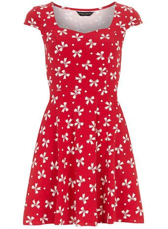 Red bow sweetheart dress