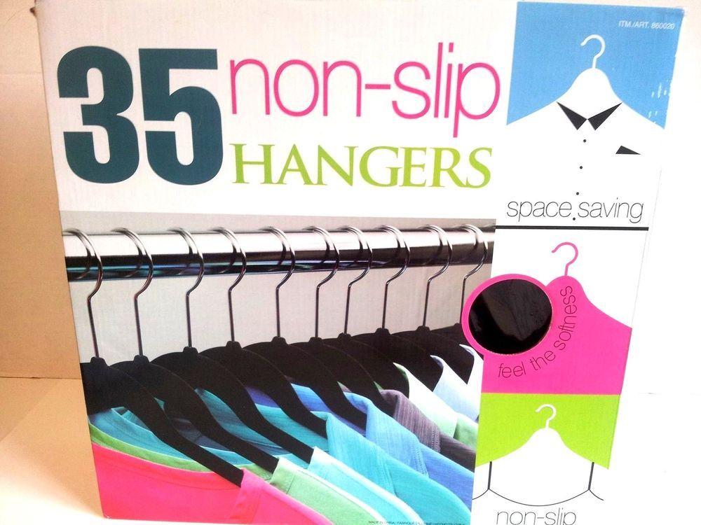 Clothes Hangers Non Slip 35 Count Color Black Velvet Space Saver