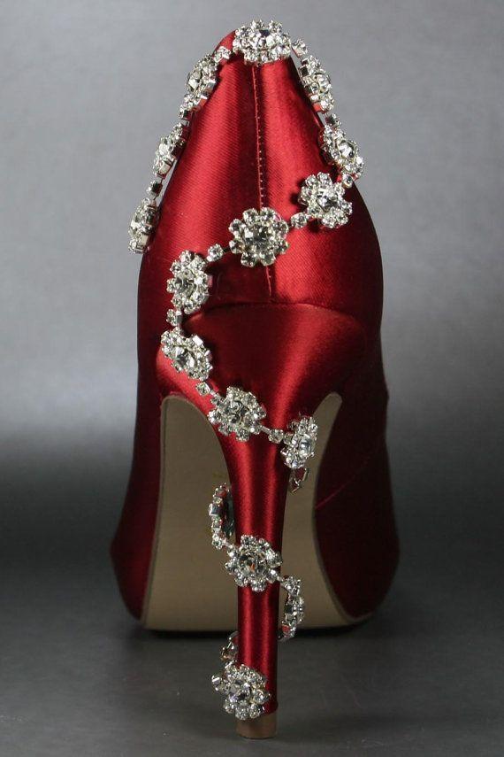 Wedding Shoes -- Red Platform Peeptoes Silver Rhinestone Detail on ...