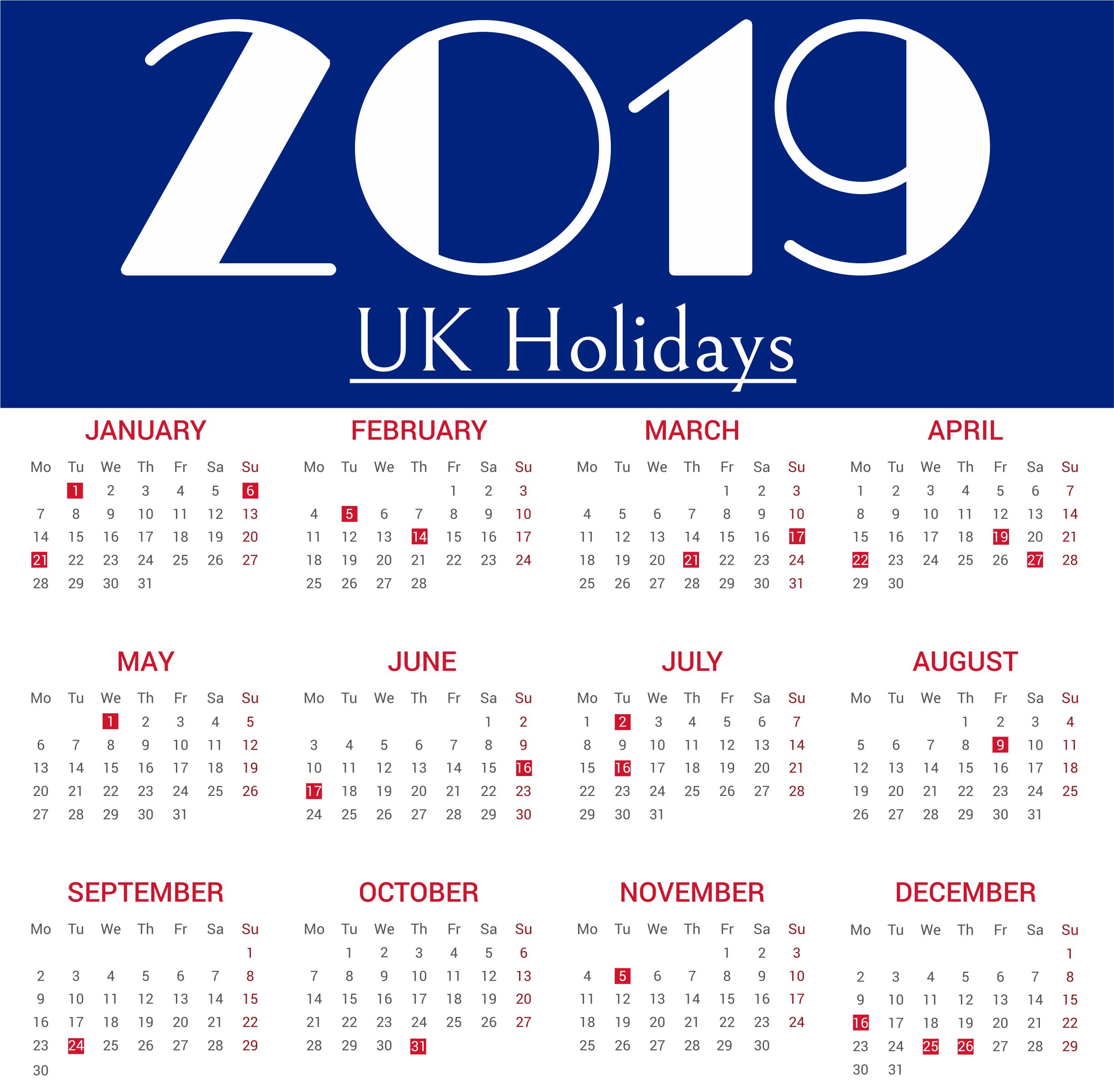 2019 International Holiday Calendar One Page Holiday Calendar