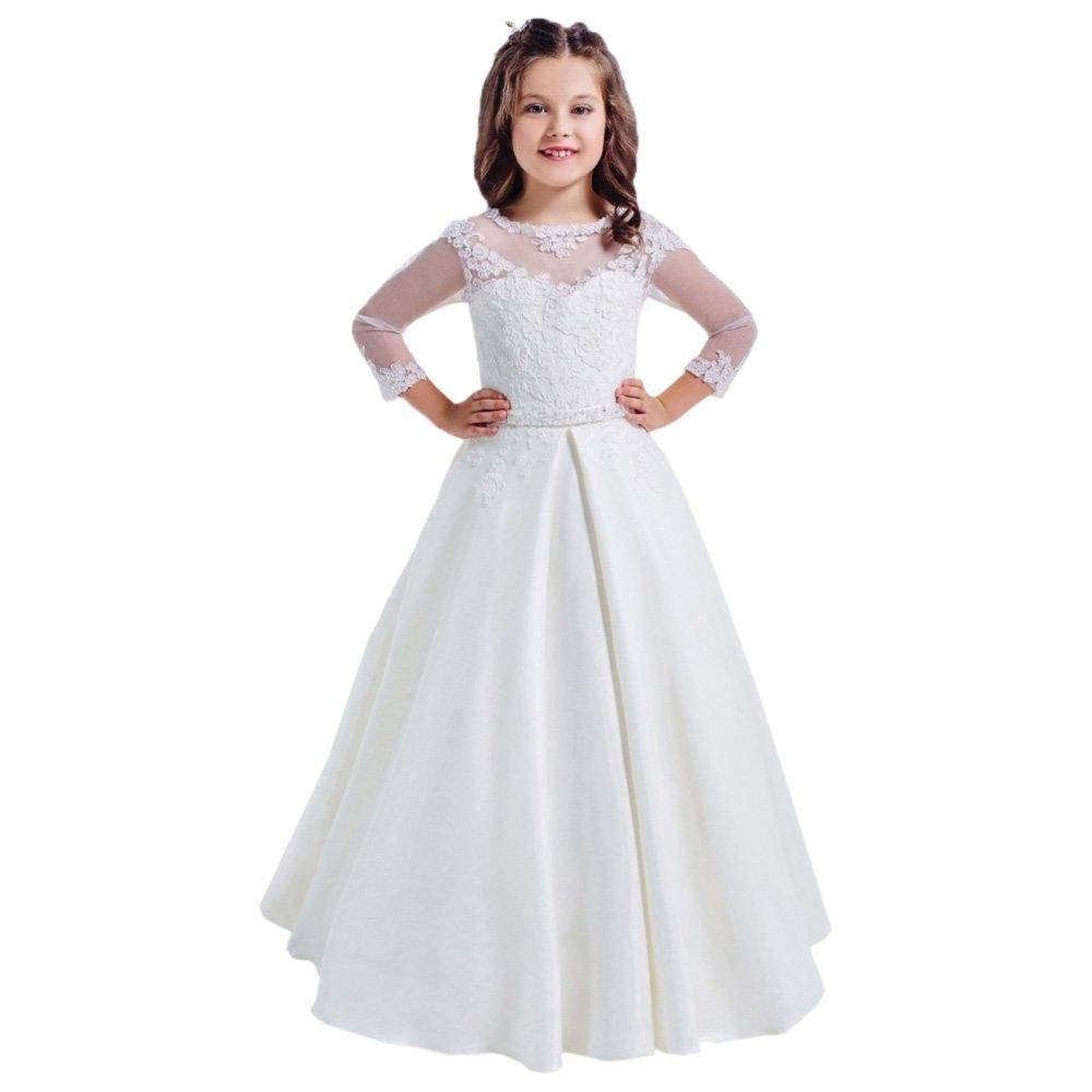 Lace Long Sleeves Hollow Back First Communion Dresses 2 12 Year Old White White C012mo0nl97 Kids Bridesmaid Dress Wedding Dresses For Girls Communion Dresses [ 1000 x 1000 Pixel ]