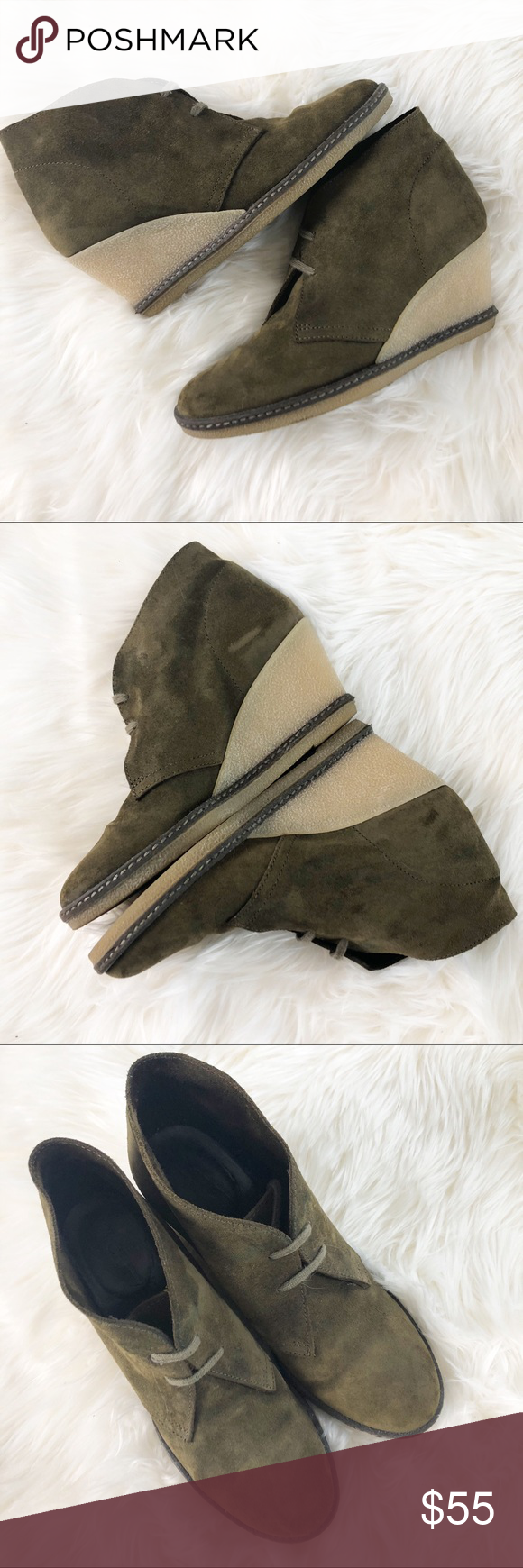 5c9ed7792796 J. Crew olive green suede lace up wedge booties J. Crew MacAlister desert  olive green suede lace up wedge heel booties