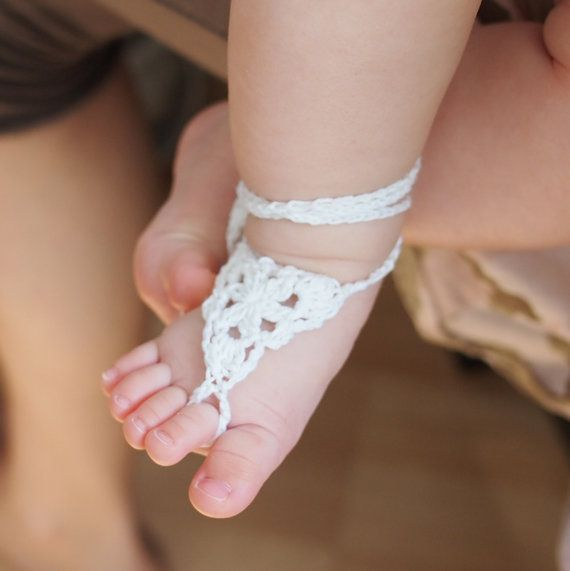 Crochet pattern, Barefoot sandals, baby spring summer wedding shoes ...