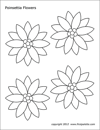 poinsettia flowers  free printable templates & coloring