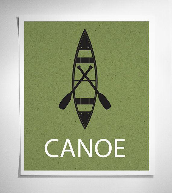 Canoe modern graphic art print green canoe dream for Canoe paddle tattoo